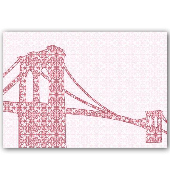 Brooklyn bridge with retro damask design - Fine art print, red, damask design, silhouette,bridge,newyork, america, Mothers Day