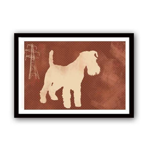 Schnauzer Dog Print, Schnauzers, brown, beige color, silhouette, dog art, dog prints, pet lover, decor, animal