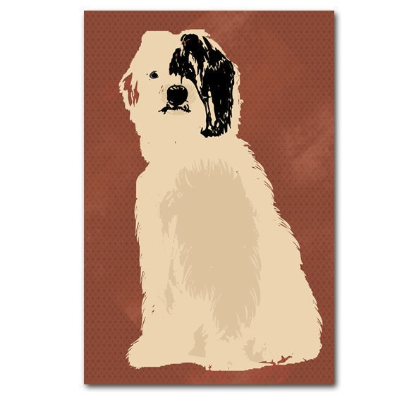 An Old English Sheepdog In Brown Color Silhouette For Dog