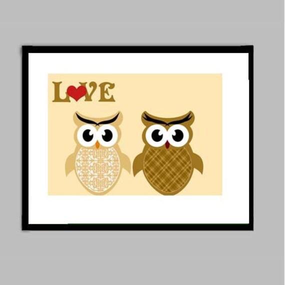 Two owls in love print -  Nursery owl , owls  Kids Art Prints, nursery decorating ideas, two owls, baby nursery
