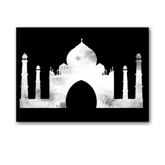The Taj Mahal Fine art print Black and White silhouette