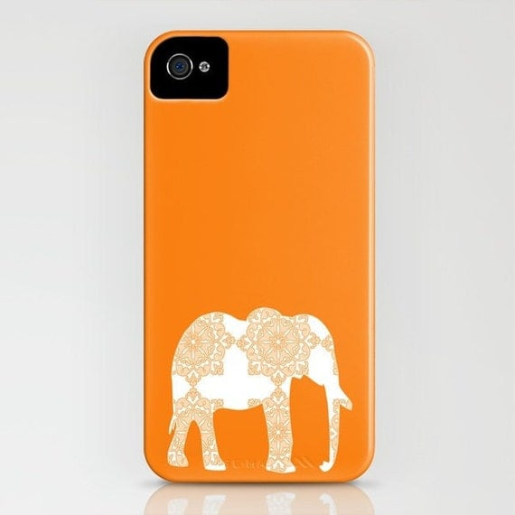 Damask Elephant in orange on Phone Case -  Samsung Galaxy iPhone 5C, iPhone 6S, iPhone 6 Plus, floral case