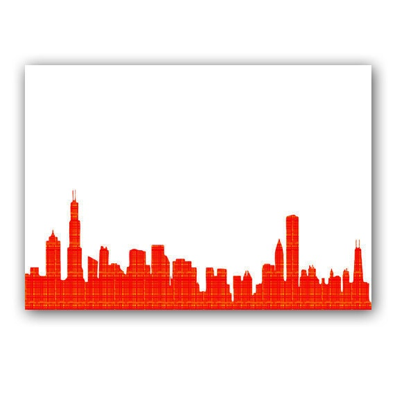 Chicago skyline in orange fine art print modern decor wall for Decor outline