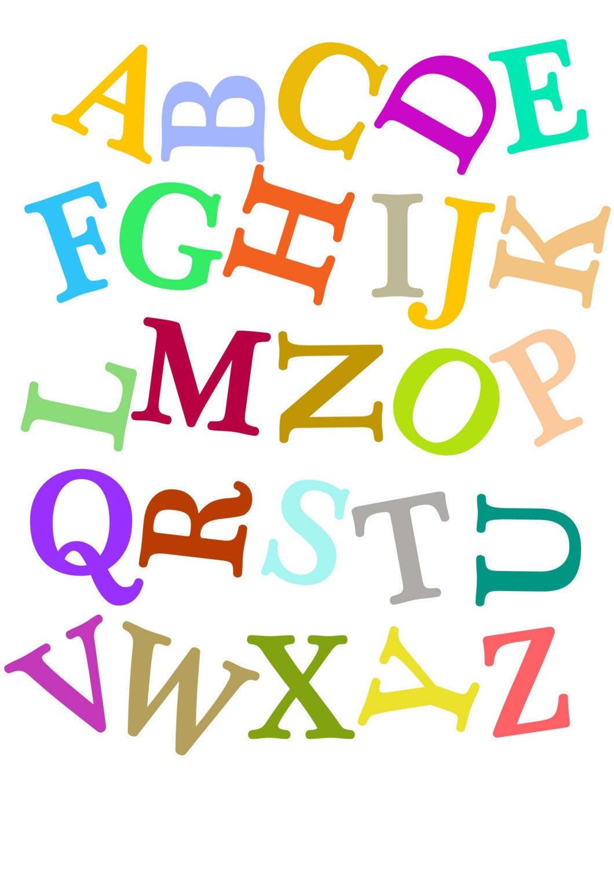 Jumbled Alphabets Kids Art Prints Nursery Decorating