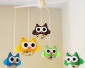 Customized Hanging Baby Owl Mobile with Designer Polka Dot Fabric- CHOOSE your own COLORS