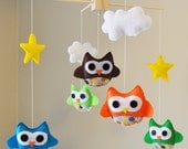 Customized Hanging Baby Owl Mobile with Designer Polka Dot Fabric - Clouds - Stars - CHOOSE your own COLORS