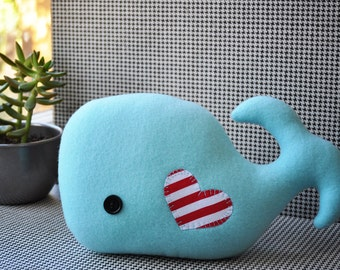 Whimsical Light Blue Plush Whale
