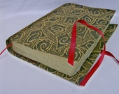 Black Gold Fabric Book Cover with Gold Purses Ruby Ribbon Closure