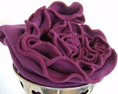Ruffled Infinity Scarf Red Cabbage Head  Plum Cowl