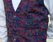 Mulberry Sangria Royal Blue Menswear Fashion Vest in Multicolor Stripes- S