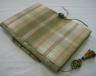Herb Harvest Green Plaid Fabric Covered Journal