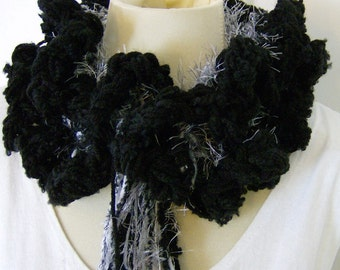 Ruffled Black and White Scarf Fluffy Furry Neck Warmer
