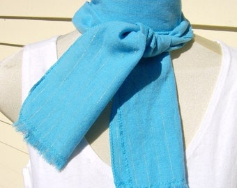 Turquoise Silver Stripe Scarf Cotton Long Fringe Scarf