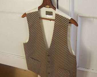 Menswear Brown Tan Check Fashion Vest - Small