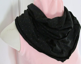 Black and Pink Ruffled Infinity Scarf Black with Pink Mini Dots Jersey Knit Cowl