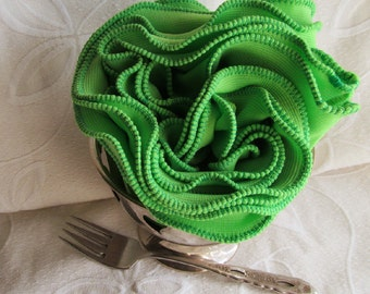 Ruffled Lettuce Edge Lime Green Cowl Infinity Scarf No. 2