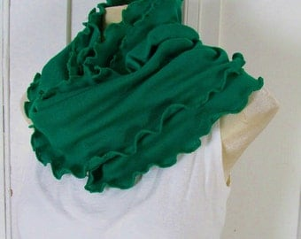 Ruffled Kale Leaf Emerald Kelly Green Wide Infinity Scarf Cowl