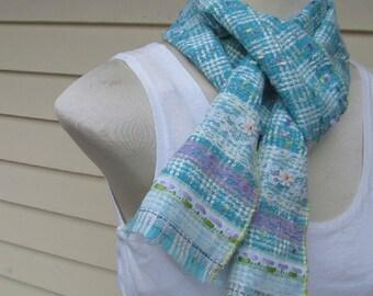 Turquoise White Boucle Plaid Lace Trim Fringe Scarf