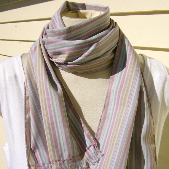Stripe Scarf Pink Pearl Gray Melon Stripe Cotton Fringe