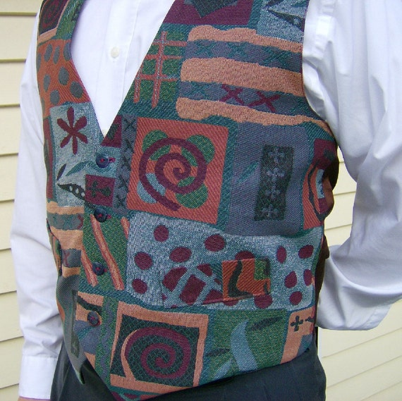 Multicolor Crazy Quilt Fabric Fashion Vest - Small