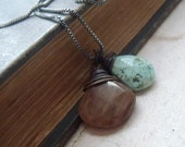 RESERVED Old Forest Petrified Wood and Persian Turquoise Necklace