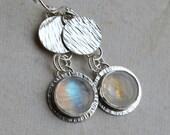 Rainbow Moonstone Earrings Sterling Silver Metalwork