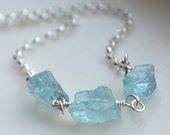 Natural Aquamarine Necklace Sterling Silver Wire Wrapped March Birthstone
