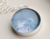 Dandelion Necklace Sterling Silver Glass