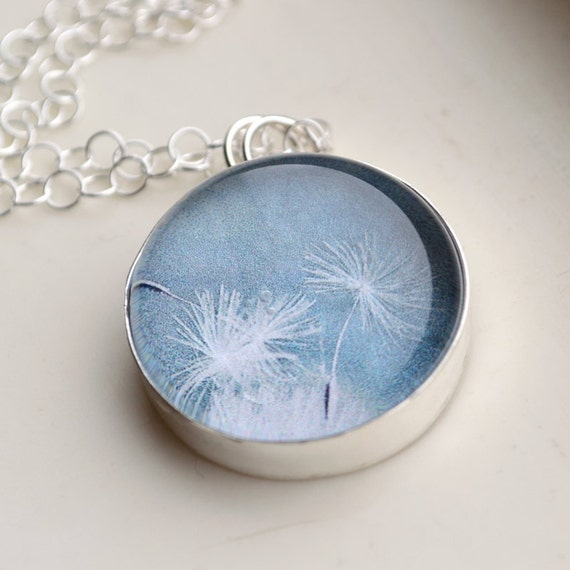 Dandelion Necklace Sterling Silver Glass