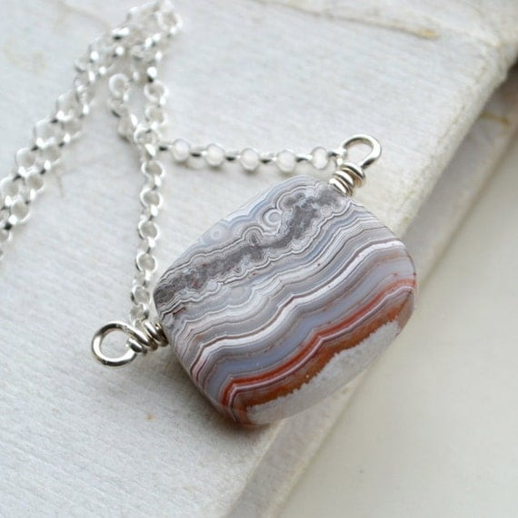Laguna Lace Agate Necklace Sterling Silver Wire Wrapped