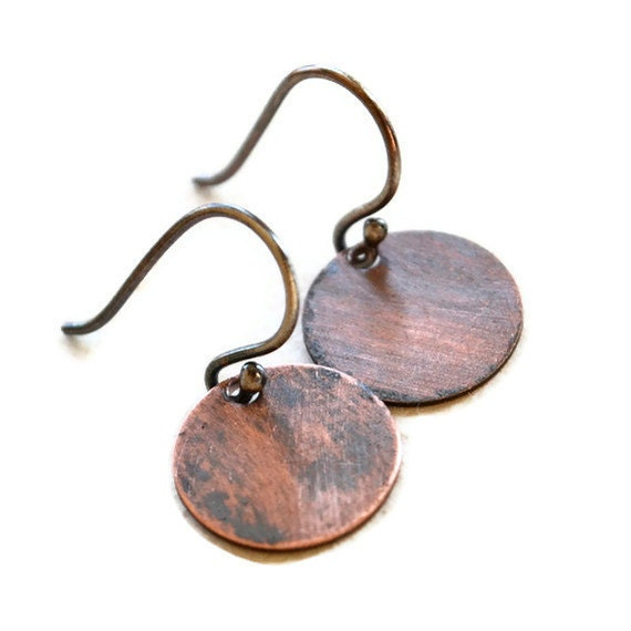 Sterling Silver Copper Earrings Simple Circles Mixed Metal