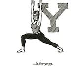 Y is for Yoga - letterpress print