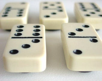 Vintage Cream & Black Bakelite Domino Magnet Set / Vintage Dominos / Vintage Dominoes / Magnets / Fun Gift / Housewarming Gift / Useful Gift