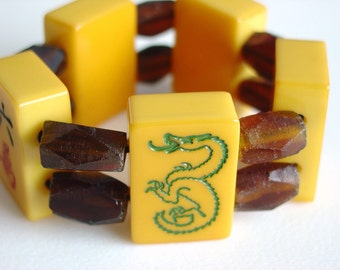 Mah Jong Tile Bracelet with Brown Recycled African Glass and Vintage Catalin Tiles / Chunky / Textural / Funky / Unusual / Dragon Tile / MED