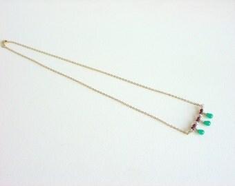 Dainty Gemstone Necklace with Gold / Green / Wine / Gold / Aventurine / Burgundy / Garnet / Crystals / Delicate / Girly / Feminine / Sweet