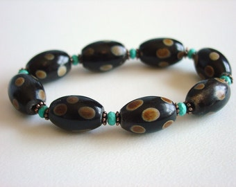 Guinea Fowl / Ethnic Bracelet / Dots / Spots / Espresso / Chocolate / Brown / Turquoise / Exotic Bracelet / Unusual / Chic / Stacking