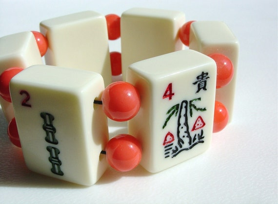 Summer Creamsicle Bracelet of Modern Mah Jong Tiles and Coral Glass Beads