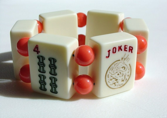 MahJong / MahJong Bracelet / Orange and Vanilla / Joker / Mah Jongg Bracelet / Asian / Jewish / Game Night / NYC Chic / OOAK Gift / FUN!