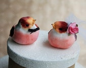 ONE OF A KIND! Rustic Wedding Cake Topper: Love Birds Bride & Groom Wedding Cake Topper in Raspberry and Spiced Wine