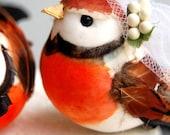 Flapper Love Birds Wedding Cake Topper in Clementine