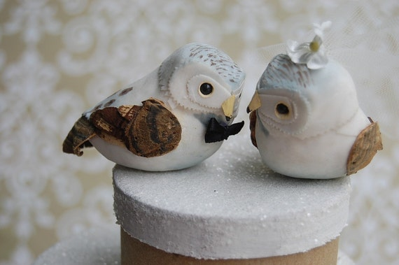 Snow Owl Love Birds Wedding Cake Topper with Decorated Nest