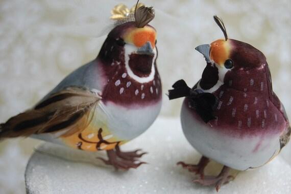 California Quail Cake Topper: Unique Bride and Groom Love Bird Wedding Cake Topper