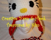 Kitty inspired Earflap Hat (child/preteen size)