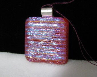 Flashy Blue/Red Dichroic Glass Pendant with Sterling Silver Bail, RKS250