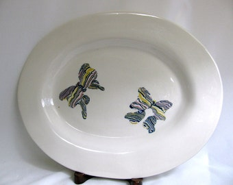 Large Handbuilt Porcelain Platter with Colored Clay Butterflies RKC015