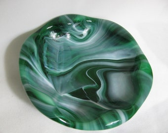 Vintage Green and White Swirled Glass Vessel or Bowl