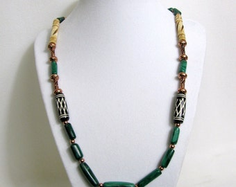 Malachite Bone and Copper Beaded Necklace RKMixables Copper Collection RKM328