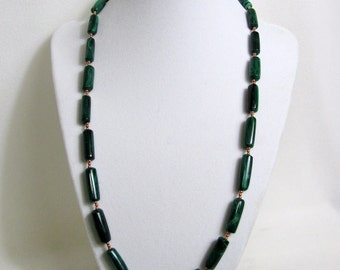 Malachite Tube and Copper Bead Necklace RKMixables Copper Collection RKM329