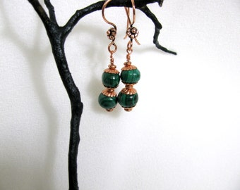 Malachite and Copper Bead Earrings RKMixables Copper Collection RKM337