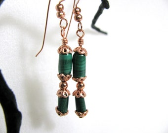 Malachite Tubes and Copper Earrings RKMixables Copper Collection RKM338